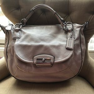 Coach Kristine Hobo Champagne Metallic Leather